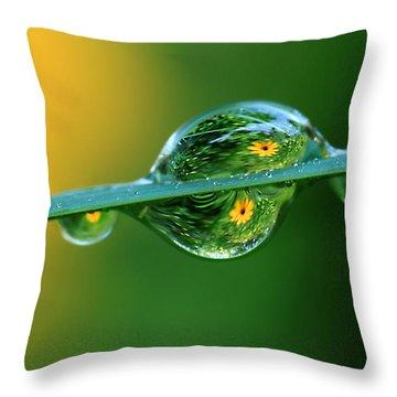 Raindrop Flowers Throw Pillow