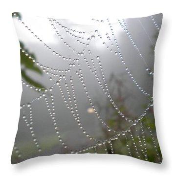 Raindrop Pearls In Fog Throw Pillow by Diannah Lynch