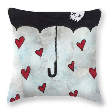 Throw Pillow featuring the painting Raindrops Of Love by Oddball Art Co by Lizzy Love