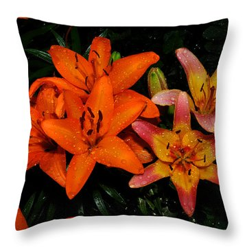 Raindrops On Orange Lilys Throw Pillow by Diane Lent