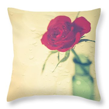 Raindrops On Roses . . . Throw Pillow by Jan Bickerton