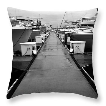 Rainey Day At The Marina Throw Pillow