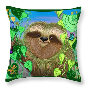 Rainforest Sloth Throw Pillow by Nick Gustafson