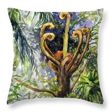 Rainforest Tree Fern Unfurling  Throw Pillow