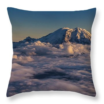 Rainier Hood Adams And St Helens From The Air Throw Pillow
