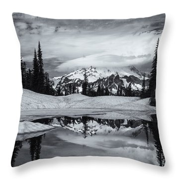 Rainier Reflections Throw Pillow by Mike  Dawson