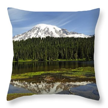 Throw Pillow featuring the photograph Rainier's Reflection by Tikvah's Hope