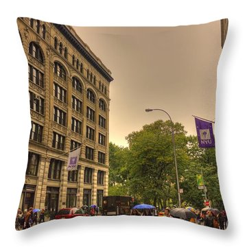Raining At Nyu Throw Pillow