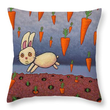 Raining Carrots Throw Pillow by James W Johnson