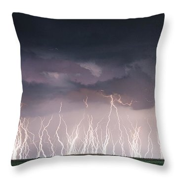 Raining Electricity Throw Pillow