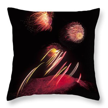 Raining Fire At Midnight Above 14000 Feet Throw Pillow