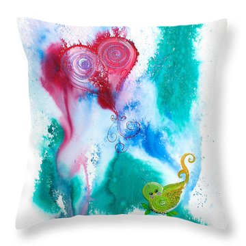 Raining Hearts Birdy Throw Pillow
