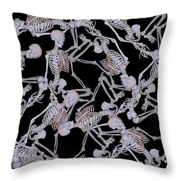 Raining Skeletons Throw Pillow by Betsy Knapp