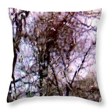 Throw Pillow featuring the photograph Rainscape - Rain On The Window Series 1 Abstract Photo by Marianne Dow