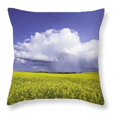 Rainstorm Over Canola Field Crop Throw Pillow by Ken Gillespie