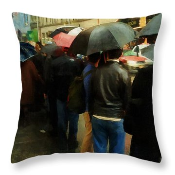 Rainy Afternoon On Broadway Throw Pillow