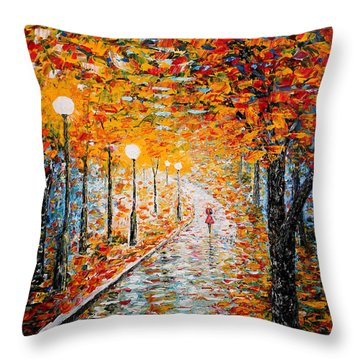 Throw Pillow featuring the painting Rainy Autumn Day Palette Knife Original by Georgeta  Blanaru