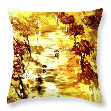 Throw Pillow featuring the painting Rainy Autumn Trail  by Denise Tomasura