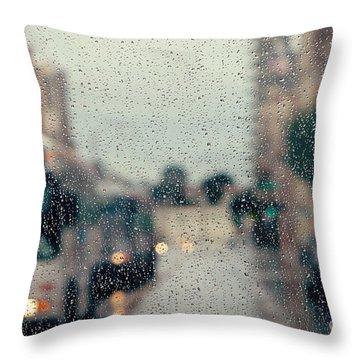 Rainy City Street Throw Pillow by Kim Fearheiley