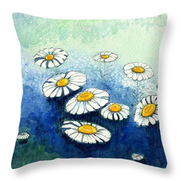 Rainy Daisies Throw Pillow