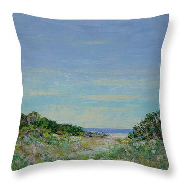 Rainy Day Beach Blues Throw Pillow
