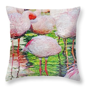 Rainy Day Flamingos 2 Throw Pillow