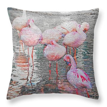 Rainy Day Flamingos Throw Pillow