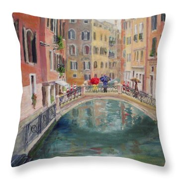 Rainy Day In Venice Throw Pillow by Harriett Masterson