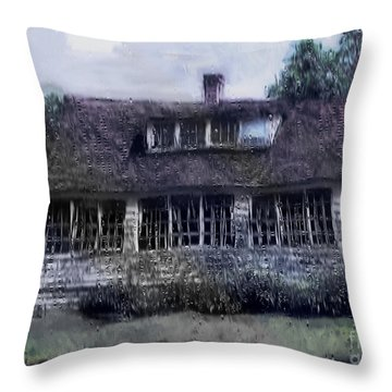 Rainy Day Long Ago House Throw Pillow by RC deWinter