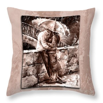 Rainy Day - Love In The Rain Style Mistyrose Throw Pillow by Emerico Imre Toth