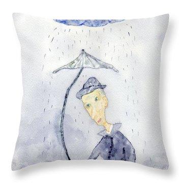 Rainy Day Man Throw Pillow