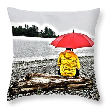 Rainy Day Meditation Throw Pillow