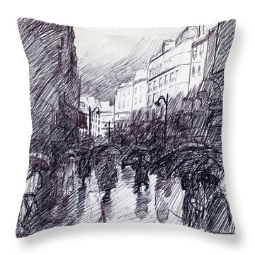 Rainy Day Paris Throw Pillow
