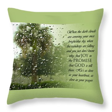 Rainy Day Promise Throw Pillow by Carolyn Marshall
