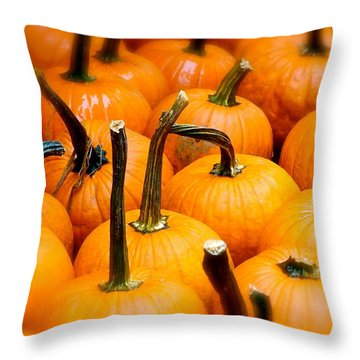 Throw Pillow featuring the photograph Rainy Day Pumpkins by Ira Shander