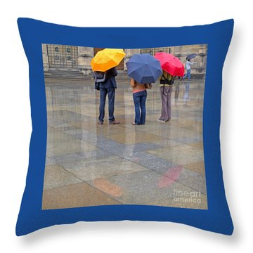 Rainy Day Tourists Throw Pillow by Ann Horn