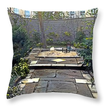 Rainy Day With Rabbit And Chair Throw Pillow by Terry Reynoldson