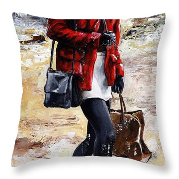 Rainy Day - Woman Of New York 09 Throw Pillow by Emerico Imre Toth