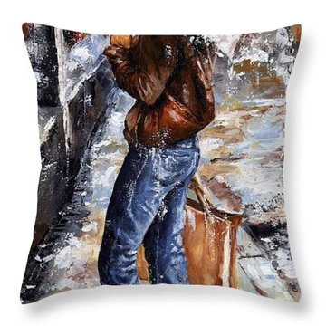 Rainy Day - Woman Of New York 15 Throw Pillow by Emerico Imre Toth
