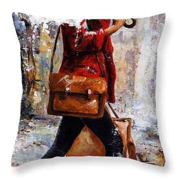 Rainy Day - Woman Of New York 17 Throw Pillow by Emerico Imre Toth