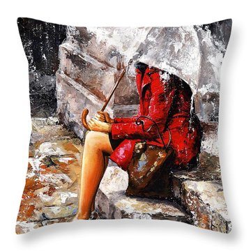 Rainy Day - Woman Of New York Throw Pillow by Emerico Imre Toth