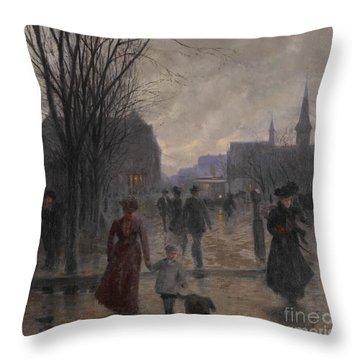 Rainy Evening On Hennepin Avenue Throw Pillow