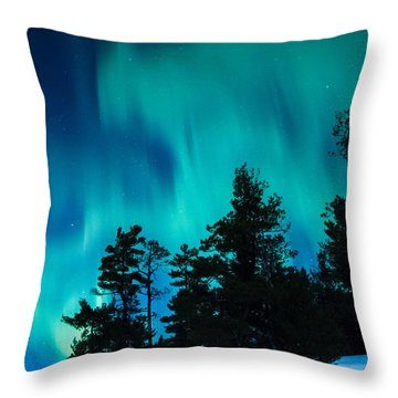 Rainy Lake Lights Throw Pillow
