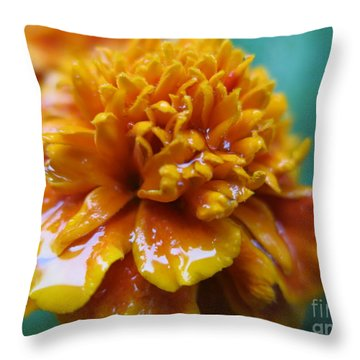 Rainy Marigolds Throw Pillow