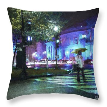Rainy Night Blues Throw Pillow