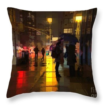 Rainy Night New York Throw Pillow by Miriam Danar