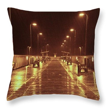 Rainy Night On The Pier Throw Pillow