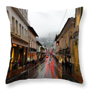 Rainy Quito Street Throw Pillow by Al Bourassa