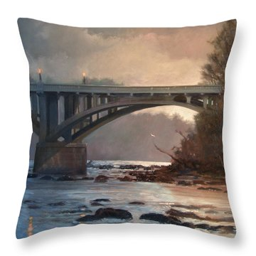Rainy River Throw Pillow by Blue Sky