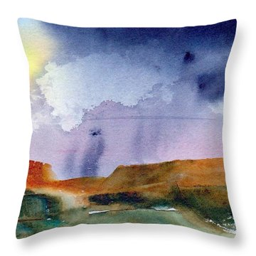 Throw Pillow featuring the painting Rainy Skies by Anne Duke